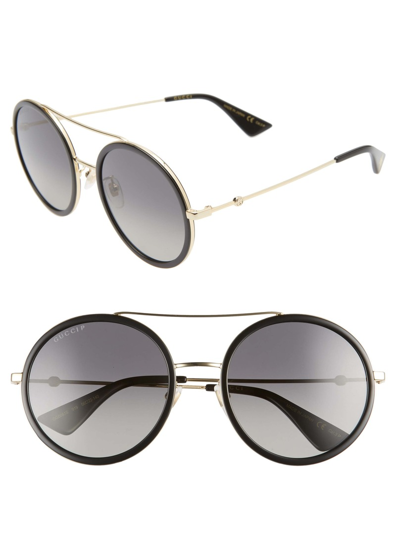 Gucci 56mm Round Sunglasses