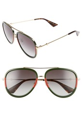 Gucci 57mm Aviator Sunglasses