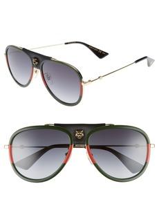 Gucci 57mm Metal Aviator Sunglasses