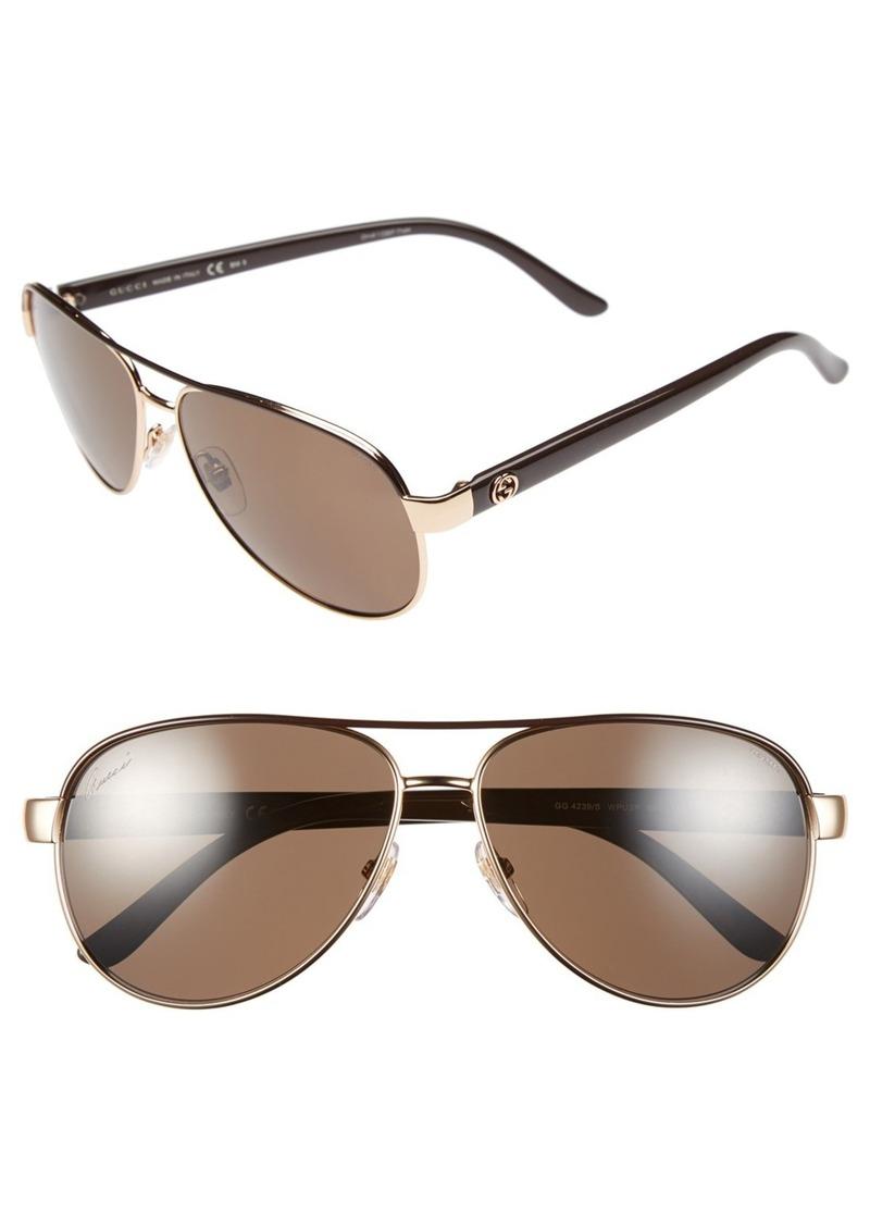 Gucci 58mm Polarized Aviator Sunglasses