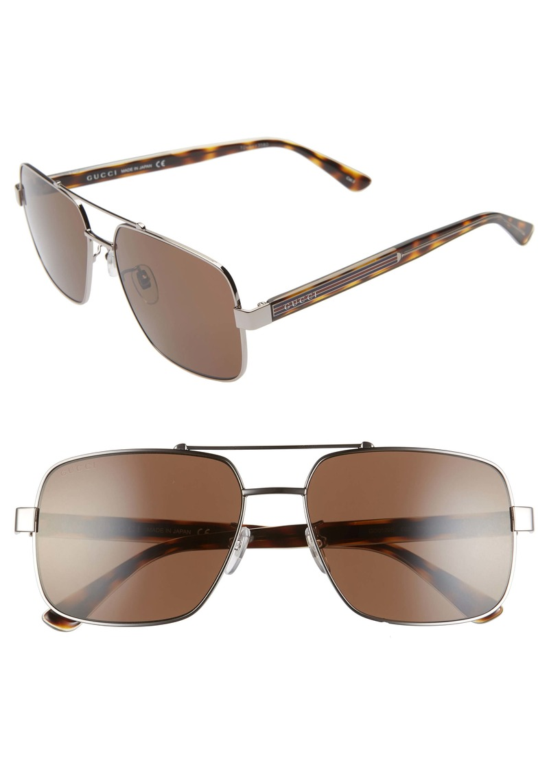 Gucci 60mm Navigator Sunglasses