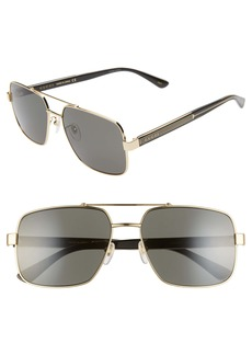 Gucci 60mm Navigator Sunglasses