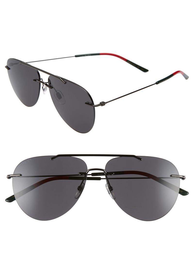 Gucci 60mm Rimless Aviator Sunglasses