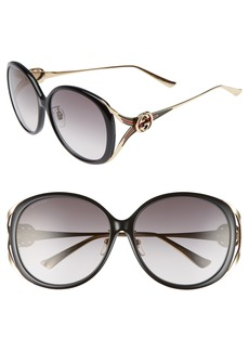 Gucci 60mm Round Sunglasses