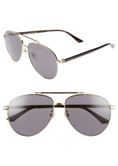 Gucci 61mm Aviator Sunglasses
