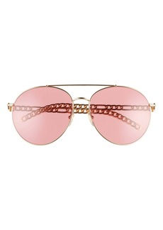 Gucci 61mm Aviator Sunglasses with Removable Logo Charms