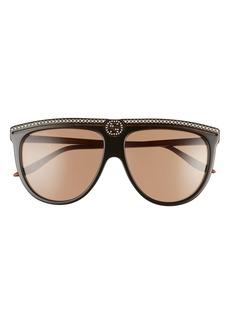 Gucci 61mm Crystal Embellished Aviator Sunglasses