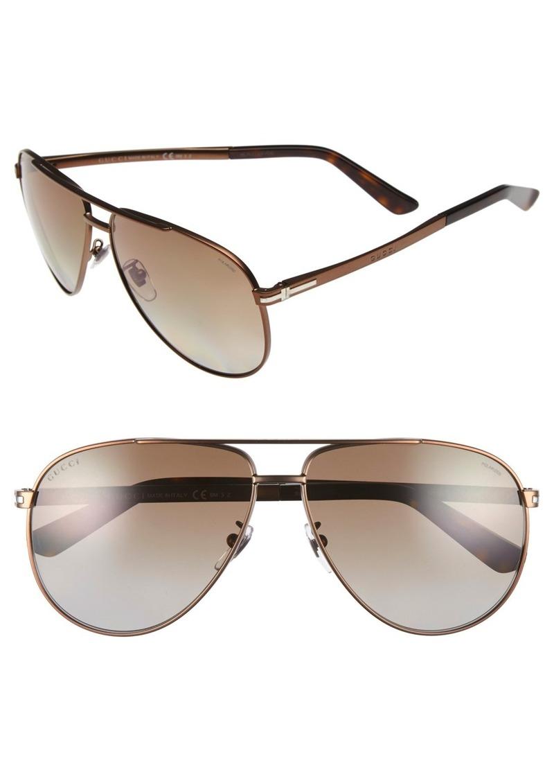 Gucci 61mm Polarized Aviator Sunglasses