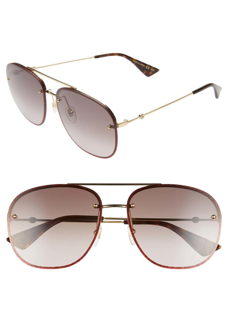 Gucci 62mm Oversize Aviator Sunglasses