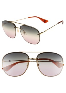 Gucci 62mm Oversize Aviator Sunglasses