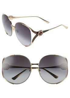 Gucci 63mm Open Temple Sunglasses