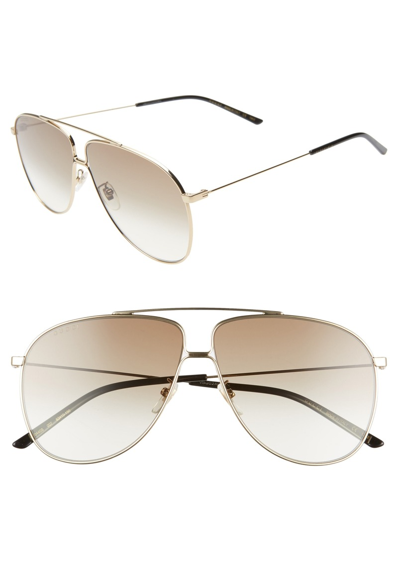 Gucci 63mm Oversize Aviator Sunglasses