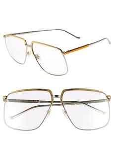 Gucci 63mm Square Aviator Sunglasses