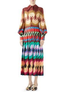 Gucci '70s Waves Ribbon Print Long Sleeve Midi Dress
