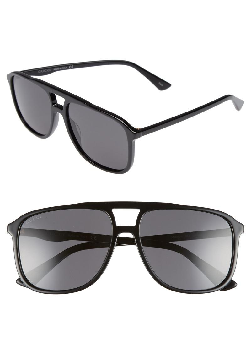 f2e076a4e9 Gucci Gucci  80s Monocolor 58mm Aviator Sunglasses