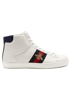 Gucci Ace bee-embroidered high-top leather trainers