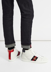 7442e8fbf Gucci Gucci Ace bee-embroidered high-top leather trainers | Shoes