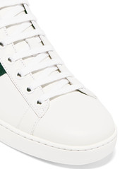 65462e383 Gucci Gucci Ace embroidered leather collapsible-heel sneakers | Shoes