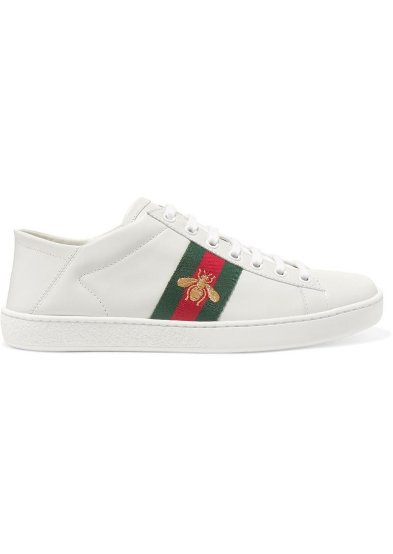 Ace Embroidered Leather Collapsible-heel Sneakers - White Gucci LCGV12