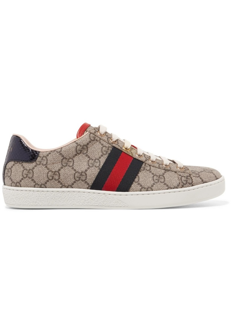 3f5de9af9c5 Ace Gg Supreme Metallic Watersnake-trimmed Logo-print Coated-canvas Sneakers.  Gucci