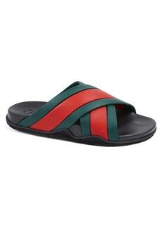 Gucci Agrado Web Stripe Slide Sandal (Men)