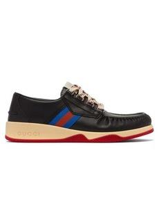 Gucci Agrado Web-striped leather deck shoes