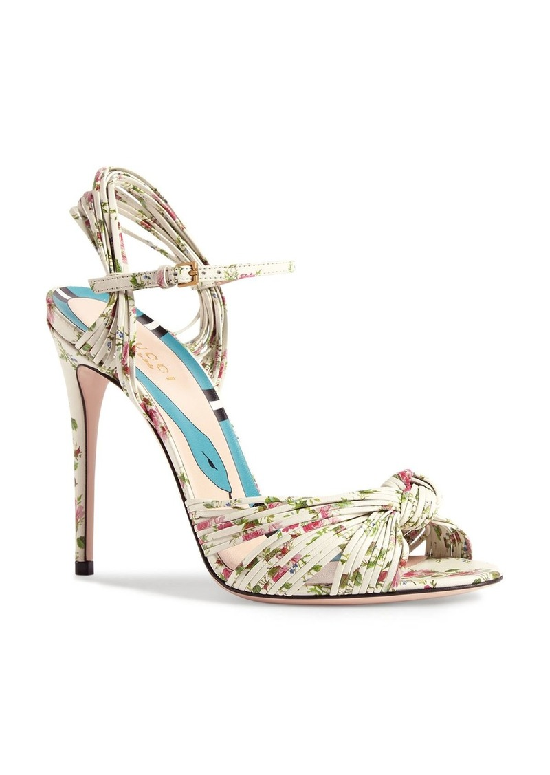 Gucci Women's Leather Knotted High-Heel Sandals