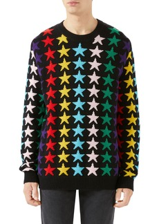 Gucci Allover Jacquard Stars Wool Sweater