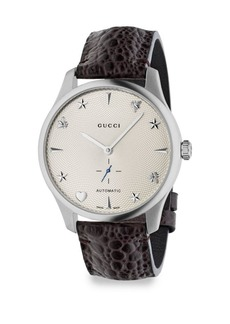 Gucci Analog G-Timeless Stainless Steel Leather Strap Watch