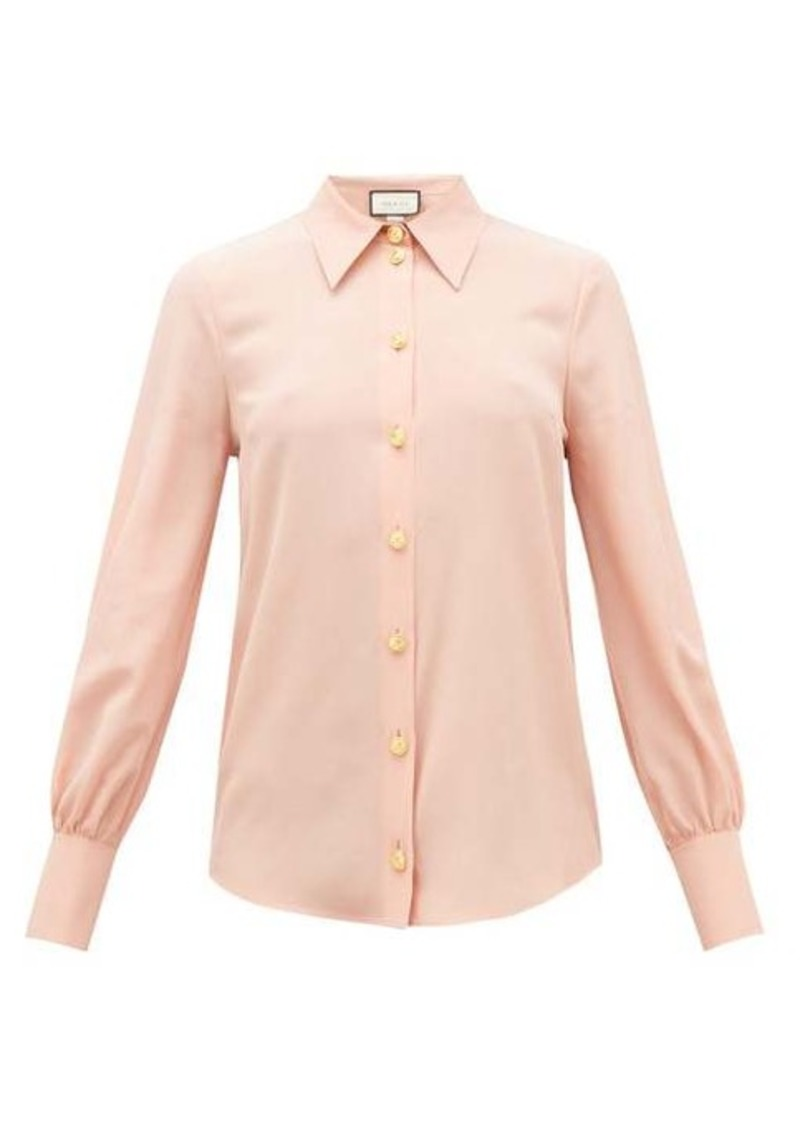 Gucci Anchor-button silk-crepe blouse