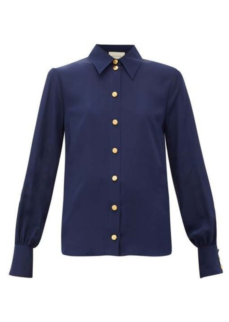 Gucci Anchor-debossed button silk blouse