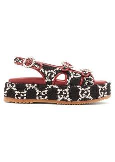 Gucci Angelina GG-tweed flatform sandals