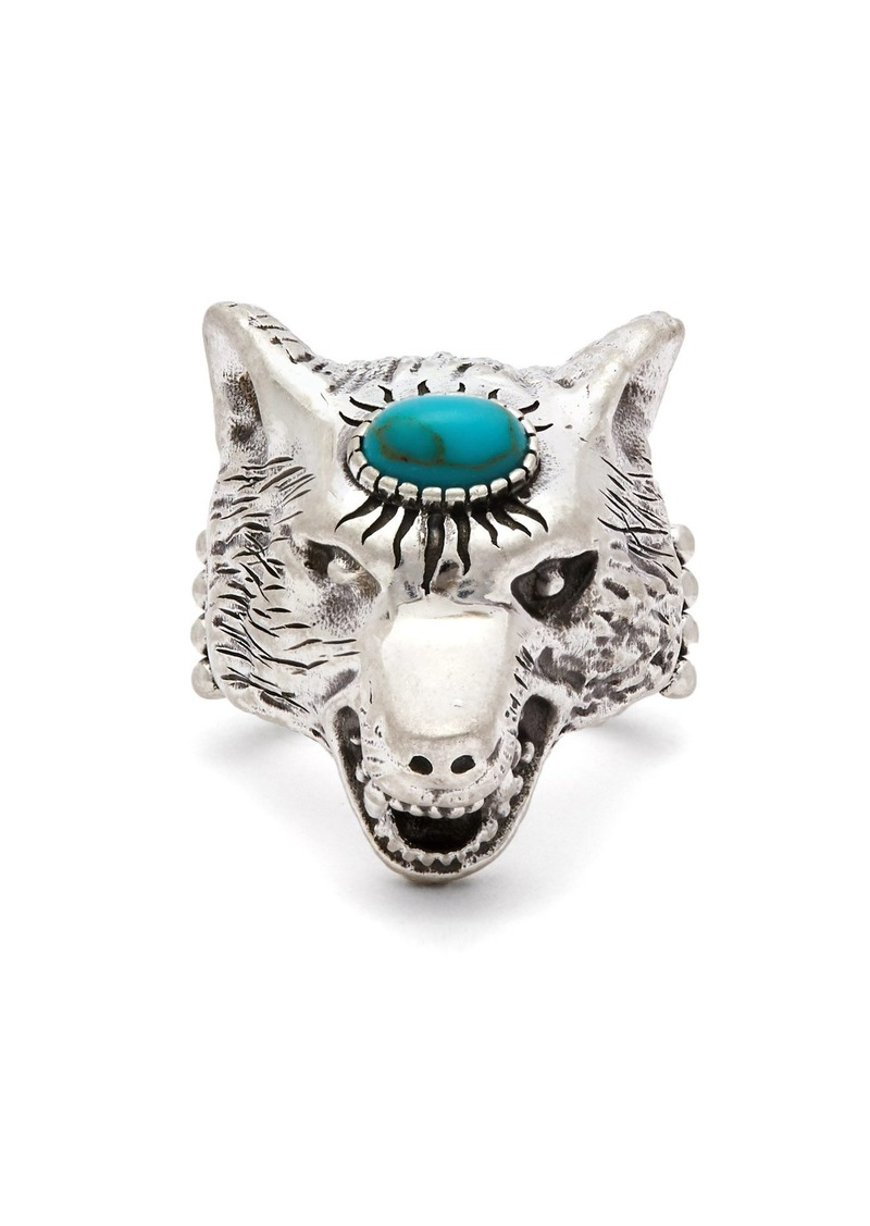 e60bbcea5591 Gucci Gucci Anger Forest wolf sterling-silver ring