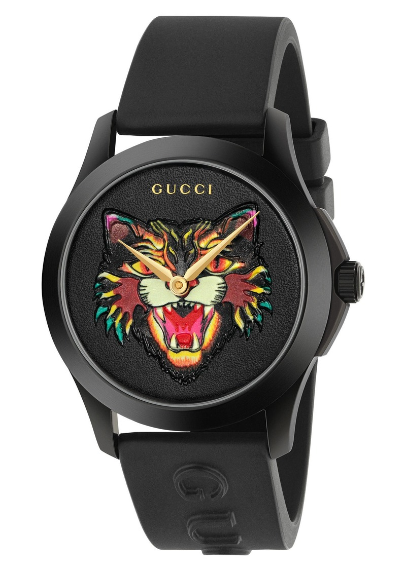 Gucci Angry Cat Rubber Strap Watch, 38mm