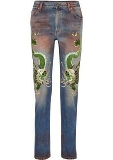 Gucci Appliquéd distressed boyfriend jeans