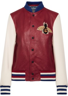 Gucci Appliquéd leather and ribbed wool bomber jacket