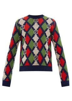 Gucci Argyle and GG-jacquard wool sweater
