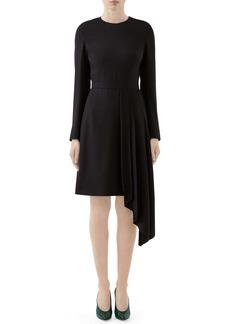 Gucci Asymmetrical Drape Satin Long Sleeve Dress