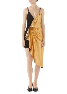 Gucci Asymmetrical Suede & Metallic Leather Dress