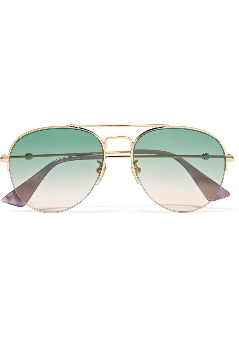 1276e48ad0b Gucci Aviator-style gold-tone sunglasses