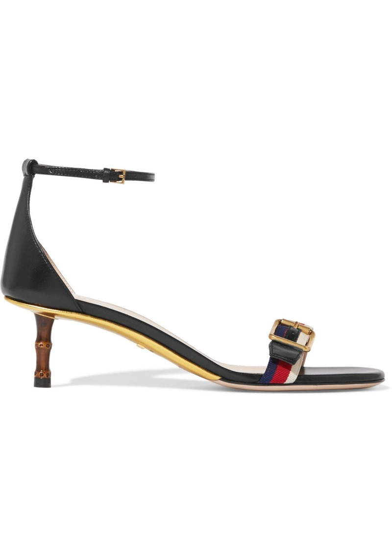 a67c0c4fd4d Gucci Sylvie grosgrain-trimmed leather sandals