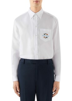 Gucci Band Embroidered Cotton Button-Up Shirt