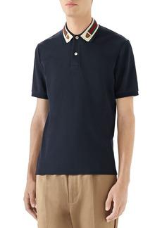 Gucci Web Stripe Tiger Collar Piqué Polo