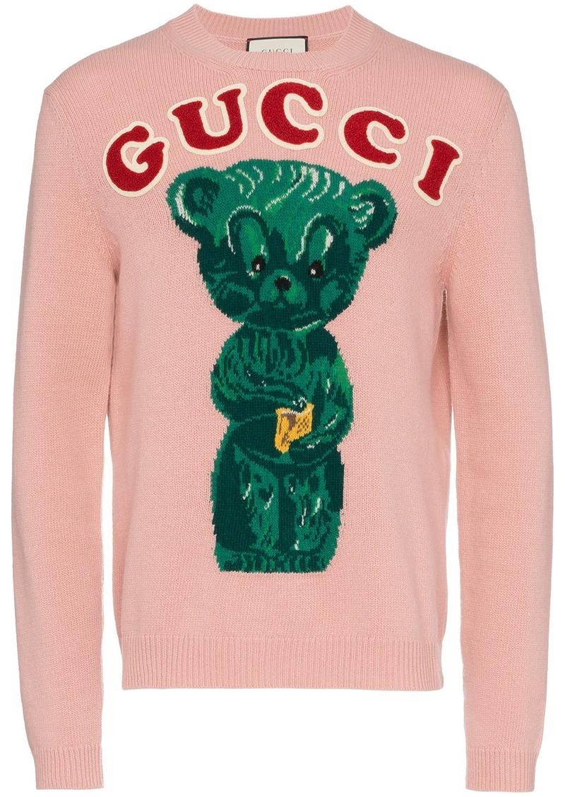 dcf2702a8c6 bear intarsia logo applique wool jumper - Nude & Neutrals