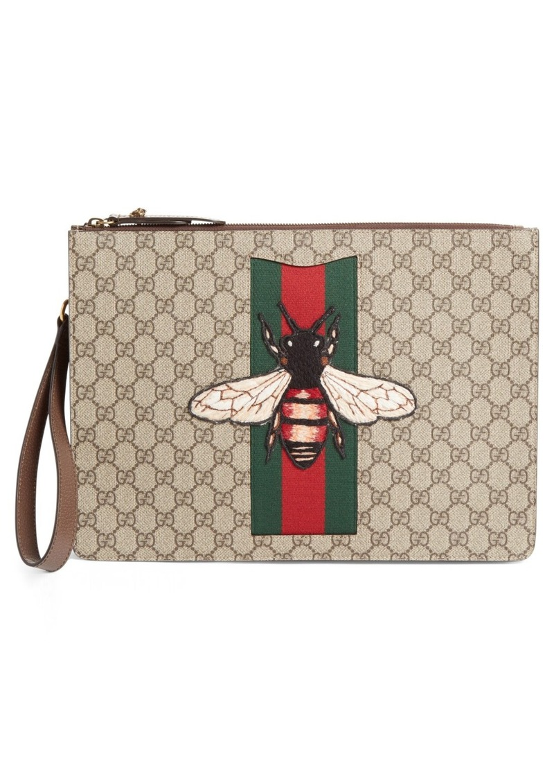 b038c67e4c2 Gucci Gucci Bee Appliqué Supreme Canvas Zipper Pouch