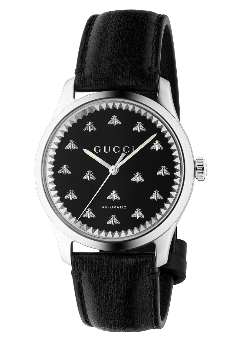 Gucci Bee Automatic Leather Strap Watch, 42mm
