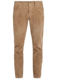 Gucci Bee-embroidered slim-leg corduroy trousers