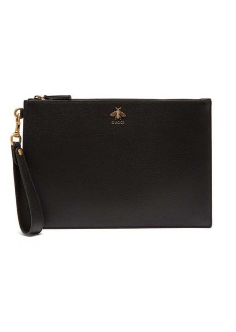 Gucci Bee-plaque leather pouch
