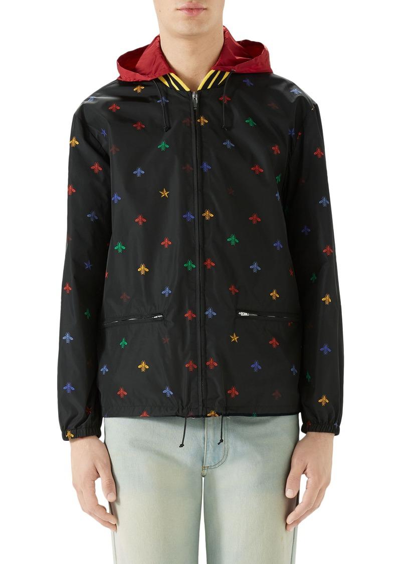 gucci gucci bee print lightweight jacket outerwear
