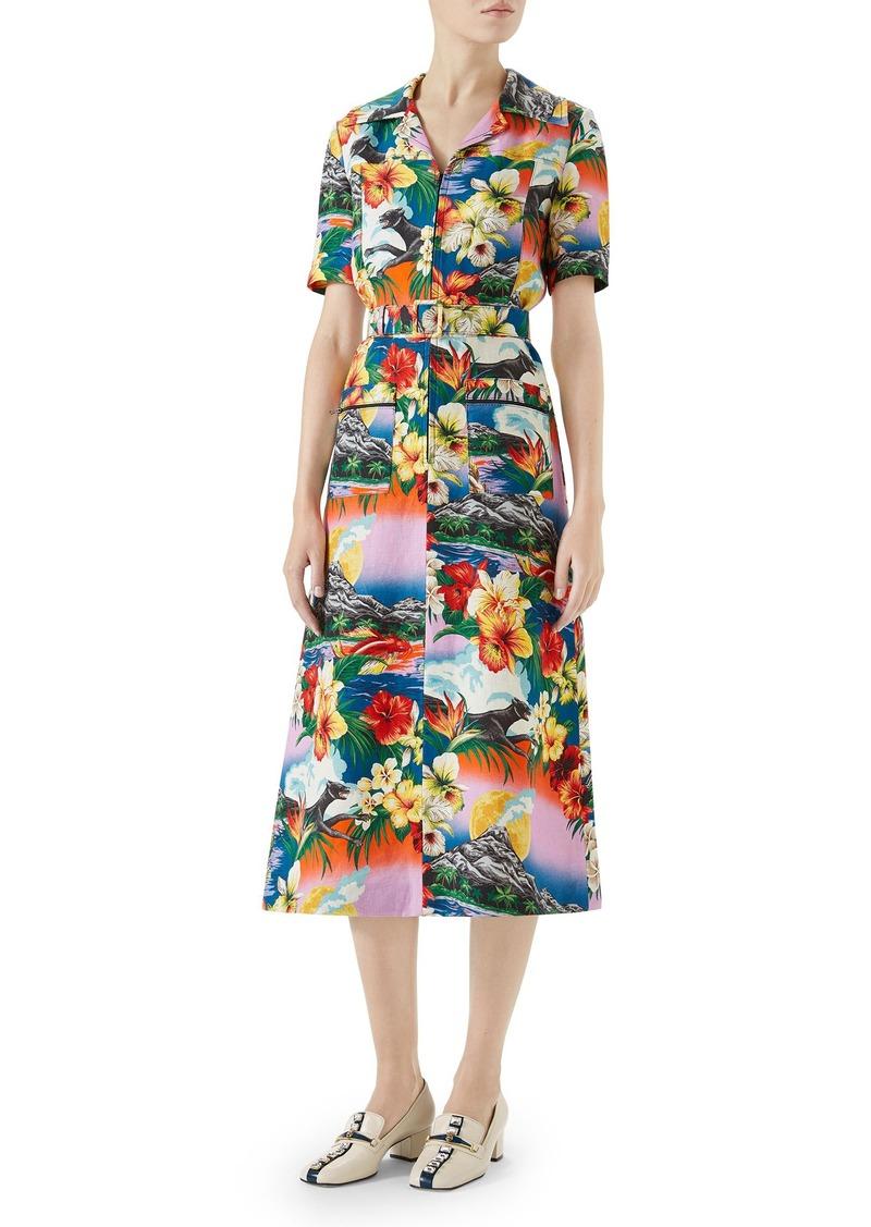 b060d34bf Gucci Gucci Belted Hawaiian Linen Shirtdress | Dresses